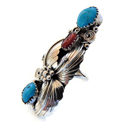 Mega lange Navajo Native zilveren squash blossom ring 2 turquoise 1 coral 4