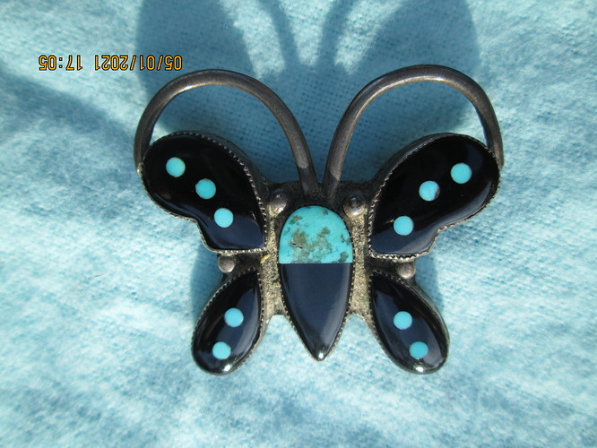 Inlaid Butterfly pin front