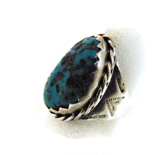 Mega grote Navajo ovale turquoise ring 7