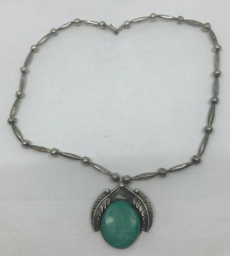similar silver feather turquoise necklace