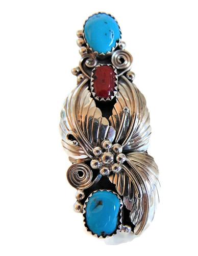 Mega lange Navajo Native zilveren squash blossom ring 2 turquoise 1 coral 2