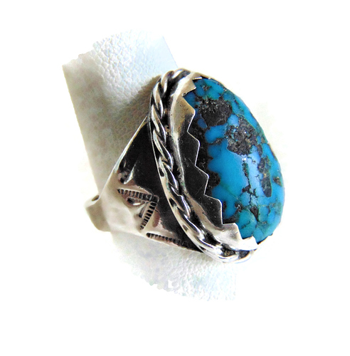 Mega grote Navajo ovale turquoise ring 6
